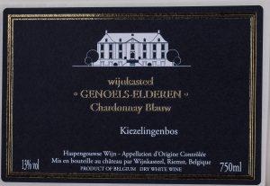 Wijnetiket Chardonnay Blauw Wijnkasteel Genoels-Elderen