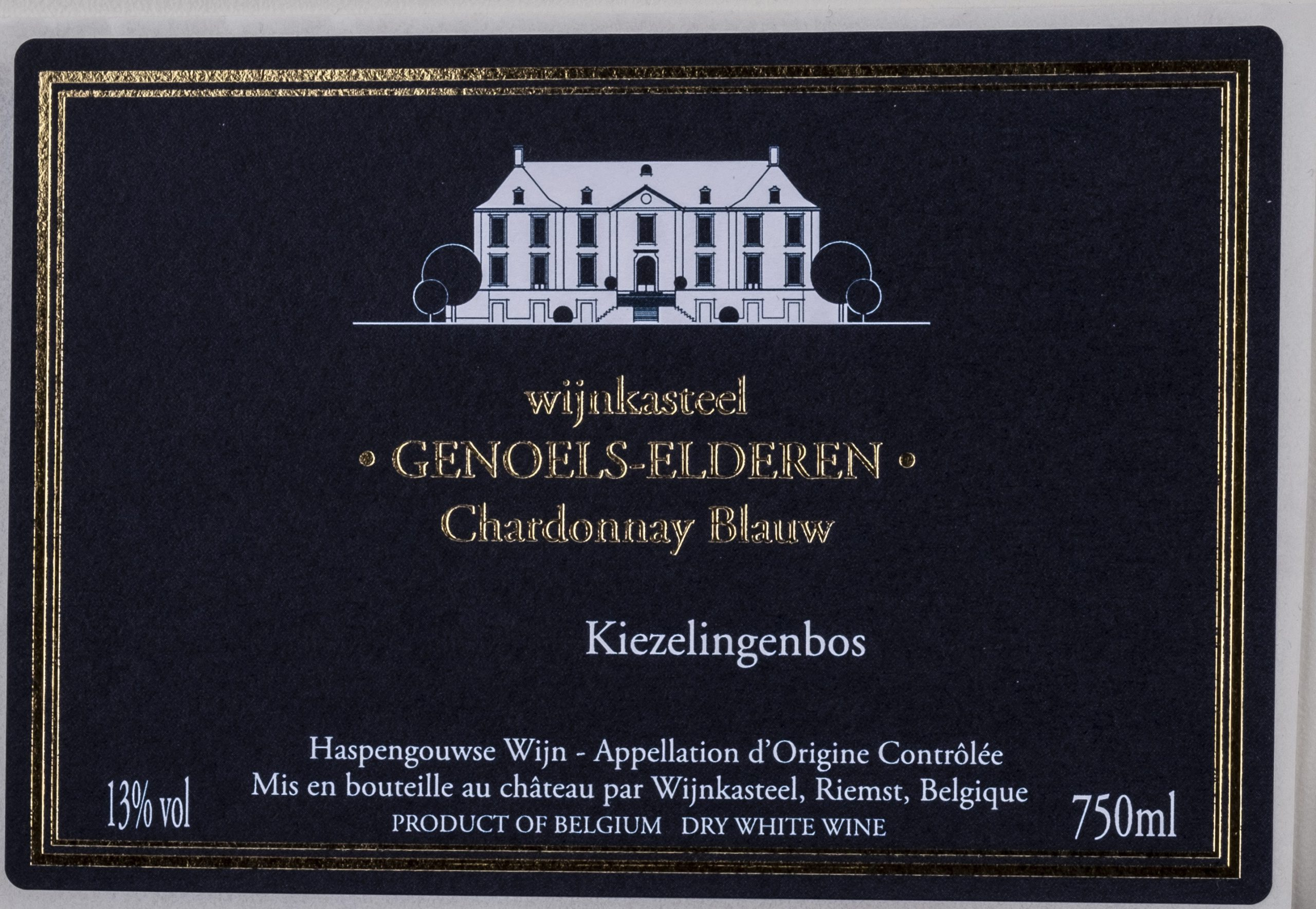 Lable bottle Chardonnay Blue Wine Castle Genoels-Elderen