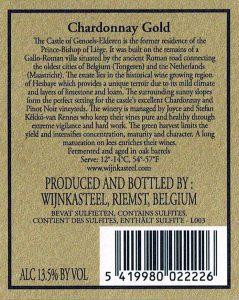 Wijnetiket Chardonnay Goud Wijnkasteel Genoels-Elderen