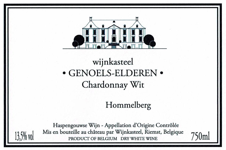 Wijnetiket Chardonnay Wit Wijnkasteel Genoels-Elderen