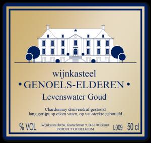 Etiket Limburgs Levenswater Goud Wijnkasteel Genoels-Elderen