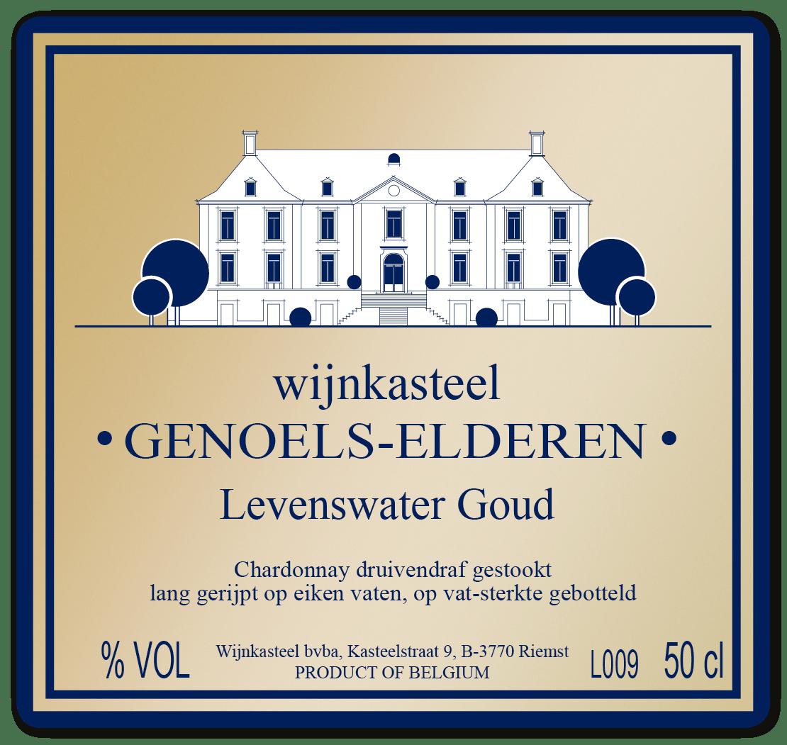 Label bottle Water of Life Gold from Limburg Wine Castle Genoels-Elderen