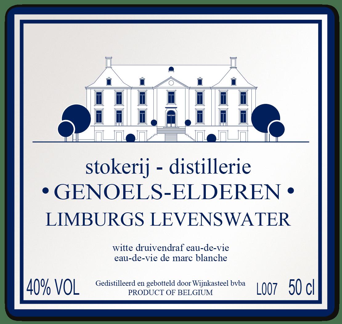 Etiket Limburgs Levenswater Wit Wijnkasteel Genoels-Elderen