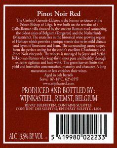 Wijnetiket fles Pinot Noir Rood Wijnkasteel Genoels-Elderen