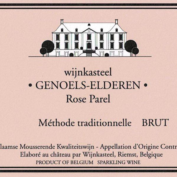 Wijnetiket fles Rosé Parel Brut Wijnkasteel Genoels-Elderen