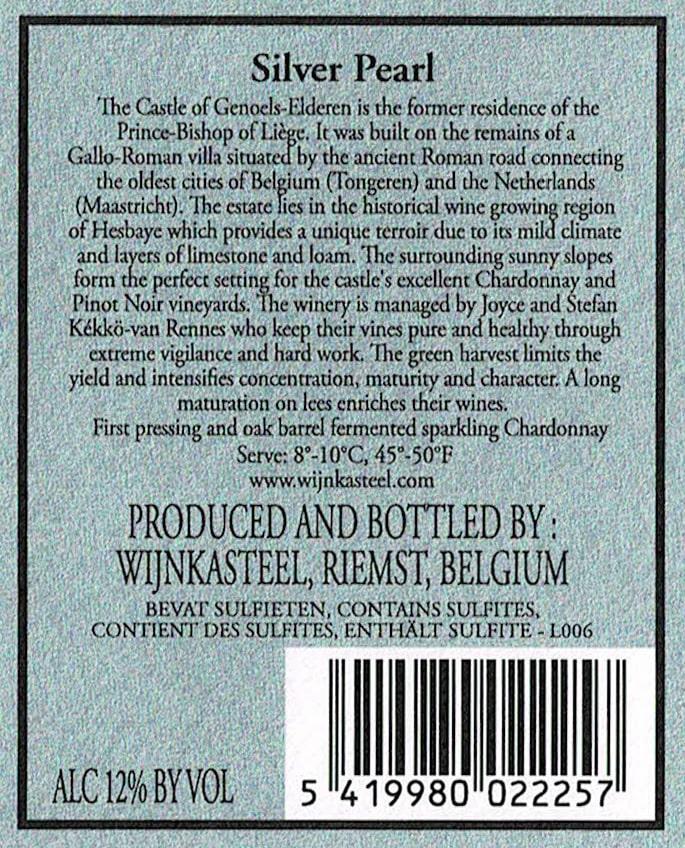 Wijnetiket Zilvere Parel Brut Wijnkasteel Genoels-Elderen