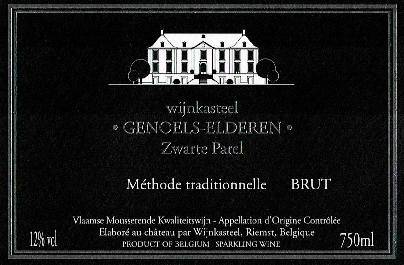 Wijnetiket Zwarte Parel Brut Wijnkasteel Genoels-Elderen