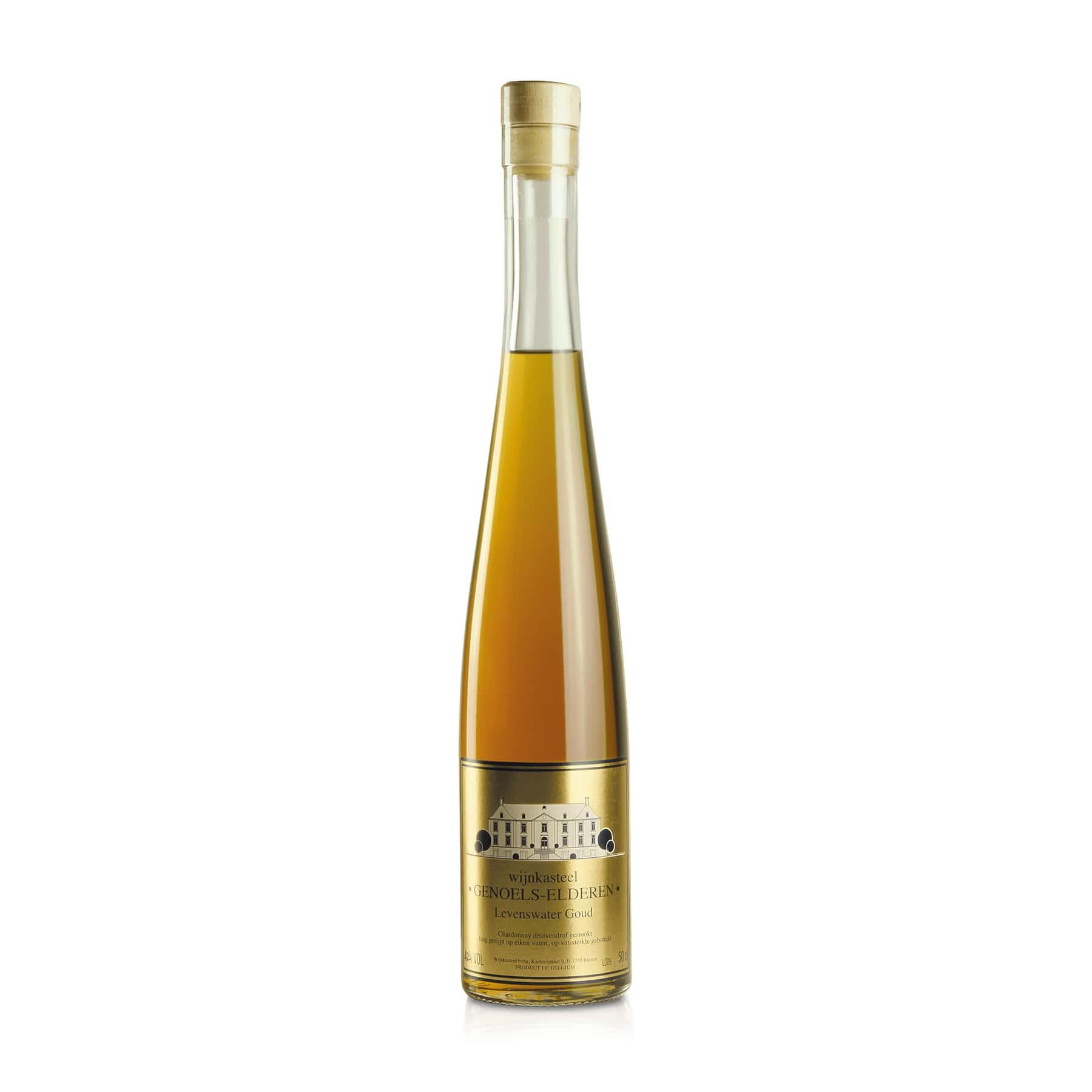 Bottle Water of Life Gold from Limburg Wine Castle Genoels-Elderen