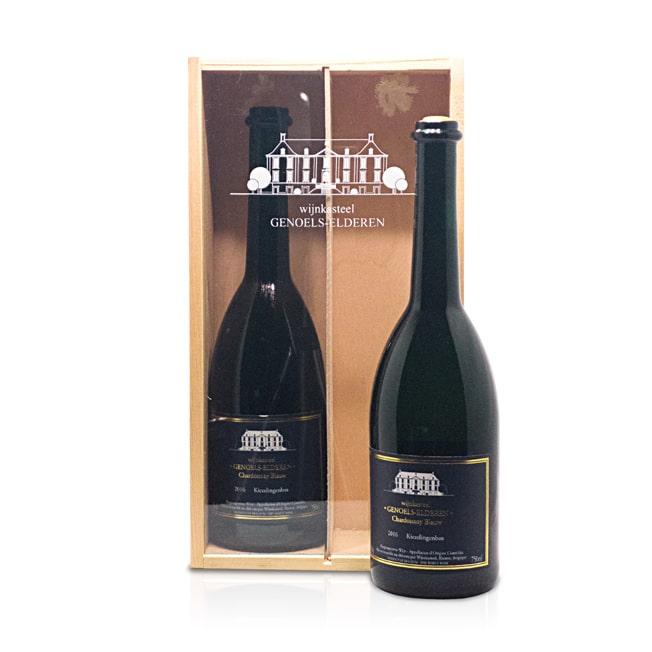 Twee vaks wijnkistje Wijnkasteel Genoels-Elderen